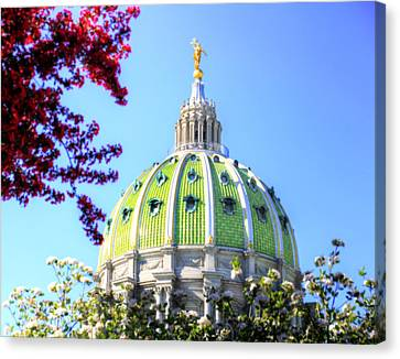 Canvas Print featuring the photograph Spring's Arrival At The Pennsylvania Capitol by Shelley Neff