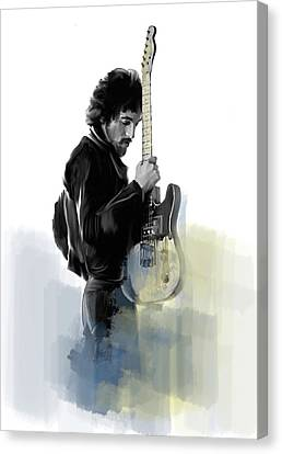 Springsteen Bruce Springsteen Canvas Print by Iconic Images Art Gallery David Pucciarelli