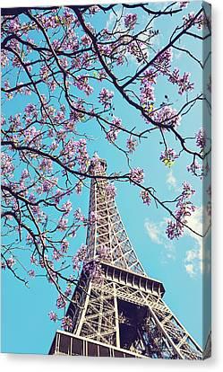 Springtime In Paris - Eiffel Tower Photograph Canvas Print by Melanie Alexandra Price