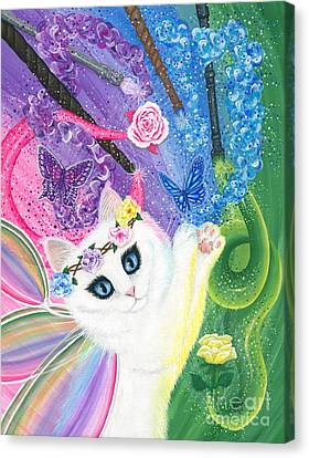 Canvas Print featuring the painting Springtime Magic - White Fairy Cat by Carrie Hawks