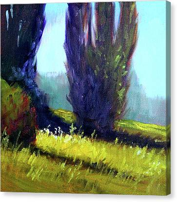 Canvas Print featuring the painting Springtime Poplar Hedge by Nancy Merkle