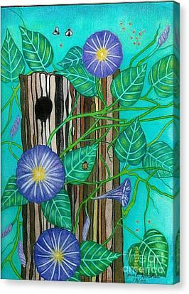 Springtime Purple Morning Glories Canvas Print by Janet Hinshaw
