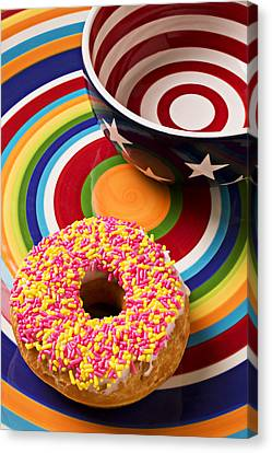 Sprinkled Donut On Circle Plate With Bowl Canvas Print by Garry Gay