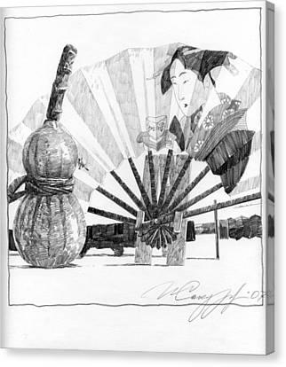 Spirit Of Japan. Pumpkin Jar And Fan Canvas Print