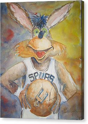 Spurs Coyote Canvas Print by Barbara Kelley