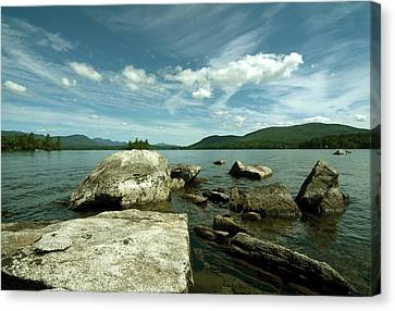 Squam Lake On The Rocks Canvas Print