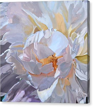 Square Format Peony Painting Canvas Print