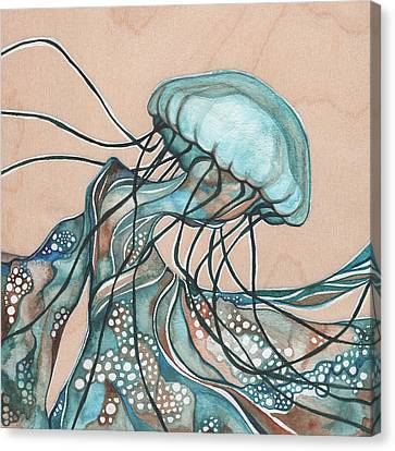 Square Lucid Jellyfish On Wood Canvas Print by Tamara Phillips