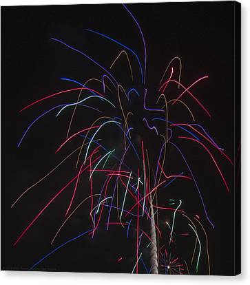 Independance Canvas Print - Square Neon Fireworks Display by Chris Thomas