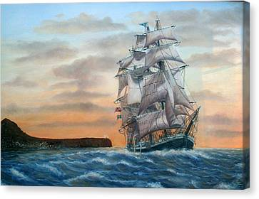 Square Rigged Sailing Ship Leaving Javea Spain Canvas Print by Mackenzie Moulton