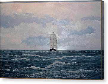 Canvas Print featuring the painting Square Rigger by Ken Ahlering
