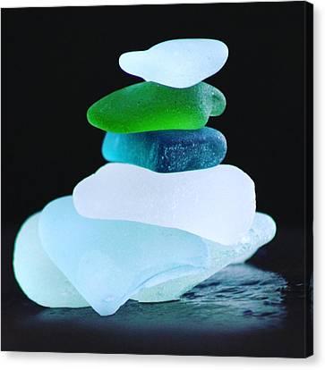 Square Sea Glass Cairn Canvas Print