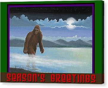 Squatch Season's Greetings Canvas Print by Stuart Swartz