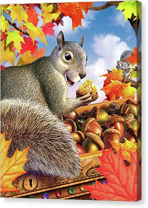 Squirrel Treasure Canvas Print by Jerry LoFaro