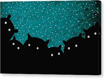 Squirrels In The Night Canvas Print