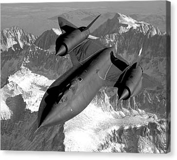 Sr-71 Blackbird Flying Canvas Print by War Is Hell Store