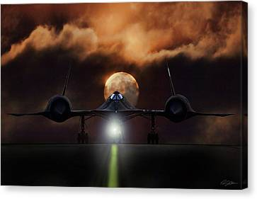 Sr-71 Supermoon Canvas Print by Peter Chilelli