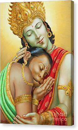 Sri Ram Embracing Hanuman Canvas Print by Dominique Amendola