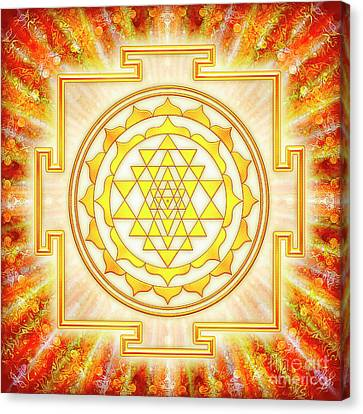 Chakra Therapy Canvas Print - Sri Yantra - Artwork Light by Dirk Czarnota