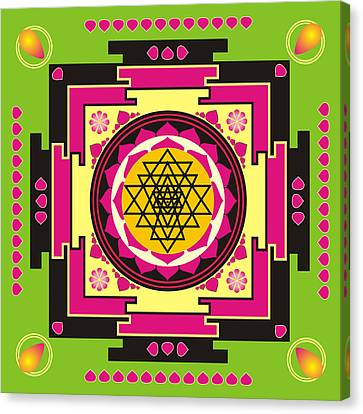Sacred Artwork Canvas Print - Sri Yantra Mandala by Steeve Dubois