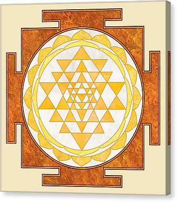 Sri Yantra. Sri Chakra. Yoga Decor. Marble Texture. Canvas Print by Ananta Govinda
