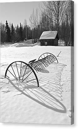 Old Farm Equipment Canvas Print - Srings Shadow by Ed Boudreau