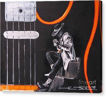 Srv - Stevie Ray Vaughn Canvas Print by Eric Dee
