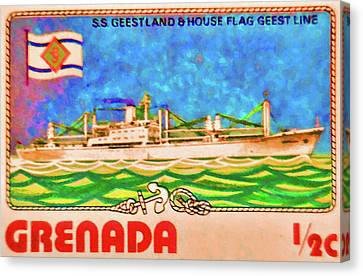 S.s Geestland And House Flag Geest Line Canvas Print by Lanjee Chee