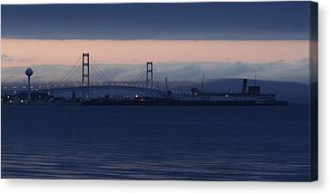Ss Keewatin And Mackinac Bridge Canvas Print by Keith Stokes