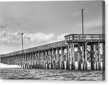 St. Andrews Pier Panama City Beach Bw  Canvas Print by Debra Forand