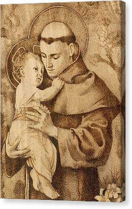 Pyrography Canvas Print - St. Anthony by Conrad  Pinto