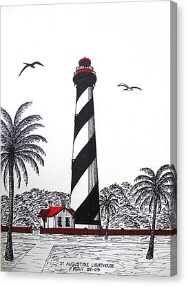 St Augustine Lighthouse Drawing Canvas Print by Frederic Kohli