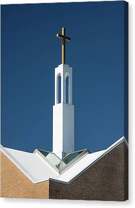 Canvas Print featuring the photograph St Benedicts Church Rooftop by Gary Slawsky
