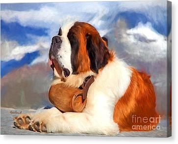 Alpine Canvas Print - St. Bernard Dog by Garland Johnson