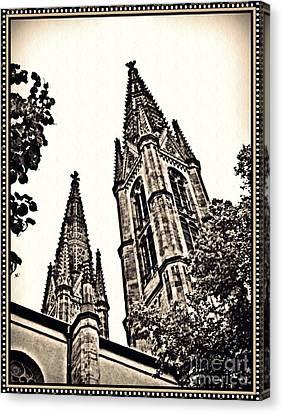 St Boniface Church Towers Sepia Canvas Print by Sarah Loft