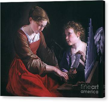 St. Cecilia And An Angel Canvas Print by Granger