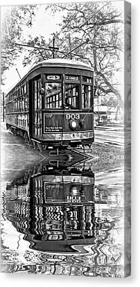 St. Charles Streetcar 2 - Reflection Bw Canvas Print by Steve Harrington