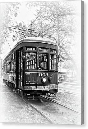 St. Charles Streetcar 2 - Vignette Bw Canvas Print by Steve Harrington