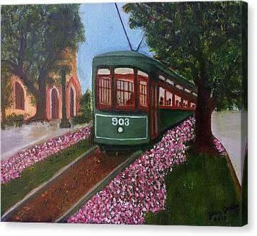 St. Charles Streetcar Line Canvas Print by Judy Jones