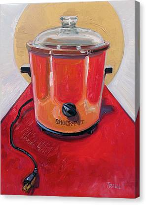 St. Crock Pot In Orange Canvas Print
