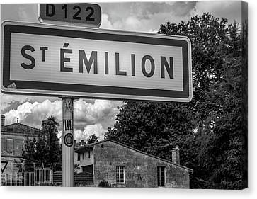 Wine Making Canvas Print - St Emilion Sign In Mono by Georgia Fowler