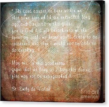 Divine Breath Canvas Print - St. Emily De Vialar by Sharon Elliott