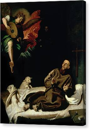 St Francis Comforted By An Angel Musician Canvas Print by Francisco Ribalta