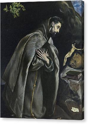 St Francis In Prayer Before The Crucifix Canvas Print by El Greco
