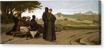 St Francis Of Assisi While Being Carried To His Final Resting Place At Saint-marie-des-anges Blesses Canvas Print