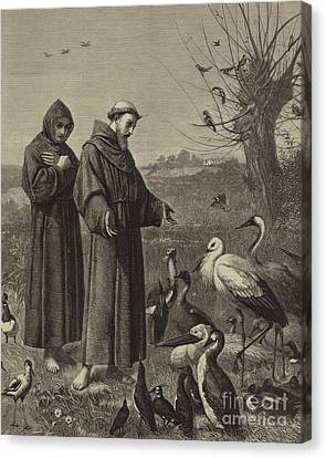 St Francis Preaches To The Birds  Canvas Print by Henry Stacey Marks