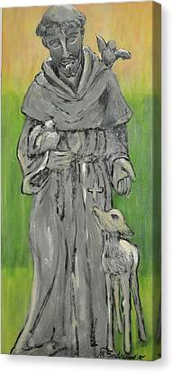 Francis Canvas Print - St Francis With Lamb I by Maria Boudreaux