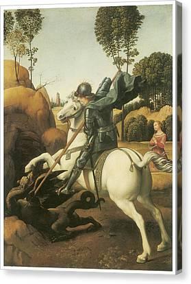 St. George And The Dragon Canvas Print by Raffaello Sanzio