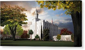 St. George Temple Canvas Print by Brent Borup