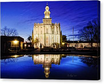 St George Temple Reflection Canvas Print by La Rae  Roberts